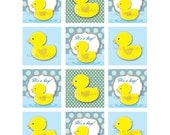 Digital Collage Sheet Baby Shower Decoration Printables Party Favors Cupcake Toppers Squares Yellow Duckie DIY Make Your Own Cards 10111