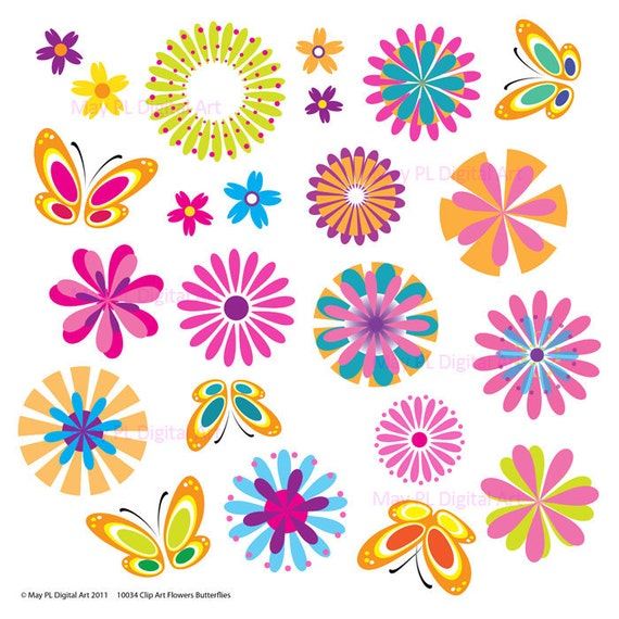 Clip Art Spring Flowers Printable Butterflies By