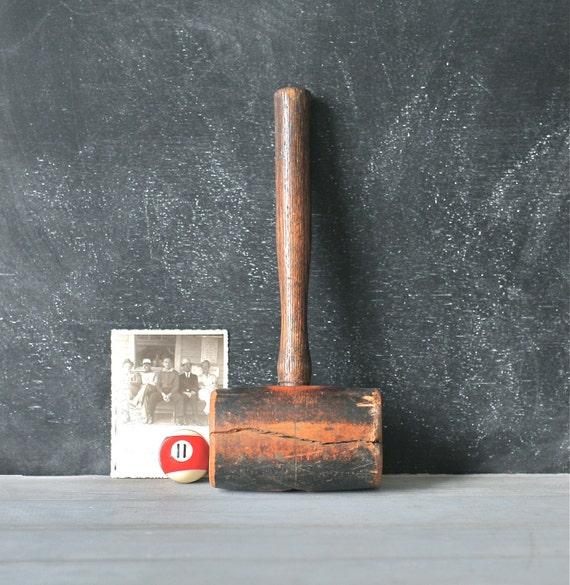 Antique Wooden Mallet Heavy Rustic Primitive