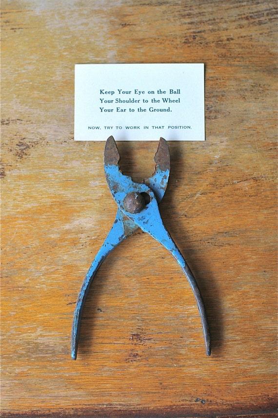 Vintage Pliers Chippy Shabby Rustic Blue Paint