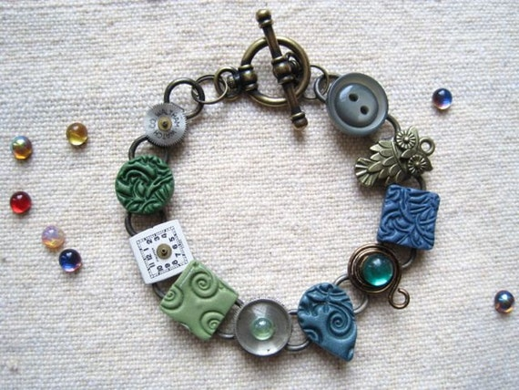 Bracelet Upcycled Watch Parts and Clay Tiles- blue green Kind of Teal