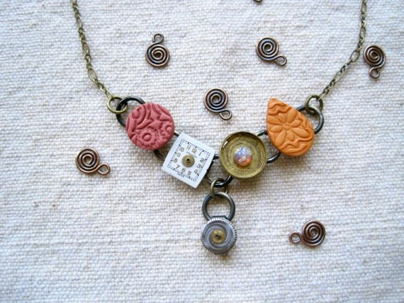 Stamped polymer clay mixed media upcycled CVB necklace - orange pink - Pink Grapefruit