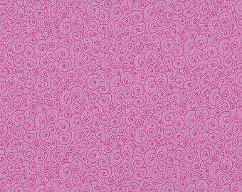 Curly lines / Curly scroll pink / Makower owls / patchwork quilting / fat quarter
