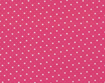 Pink with white hearts fabric / Makower / patchwork quilting fat quarter