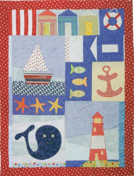 Patchwork and applique child nautical quilt - KIT with pattern and fabric   //  ONLY 1 LEFT