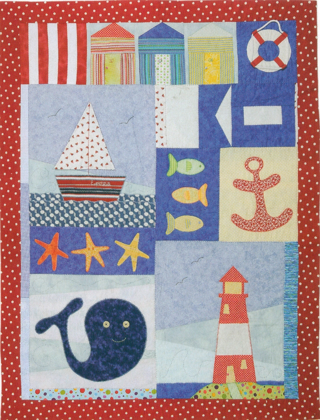 Patchwork And Applique Child Nautical Quilt Kit With Pattern