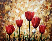 Red Tulips Print Small Wall Art 4x5 Giclee Print Home Decor Flowers