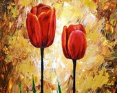 Red Tulips Print 5x4 Wall Art Home Decor Realistic Red Flowers Reproduction of Original Acrylic Painting
