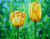 Tulips ACEO Art Print Yellow Flowers Artist Trading Card Small Print