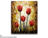 Red Tulip Painting Home Decor Flowers 16x20 Original Painting Large Wall Art
