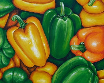 Bell Peppers Giclee Print 10x10  in Orange Yellow Green, Realistic Colorful Print