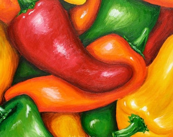 Realistic Colorful Peppers Print in Red Orange Yellow Green, Vegetables, Realism
