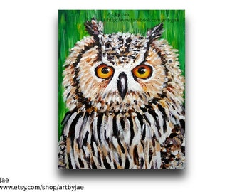 Owl Painting Original Mothers Day Gift 8x10 Canvas Realistic Horned Owl Painting Home Decor Wall Art
