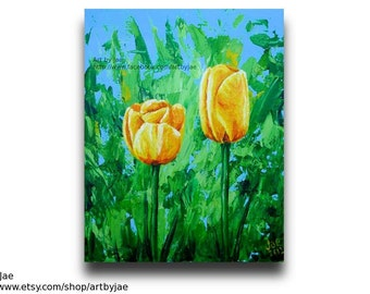 Yellow Tulips Painting Realistic Acrylic 8x10 Canvas Home Decor Original Colorful Wall Art, Palette Knife Impasto