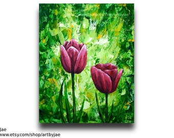 Pink Tulips Painting Home Decor Mother's Day Realistic Acrylic Painting 8x10 Flowers