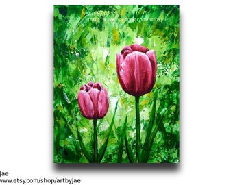Painting Realistic Tulips Pink Flower Small Wall Art 8x10 Home Decor