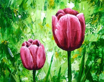 Pink Tulips Print Small Art Print Wall Art Pink Flowers 8x10