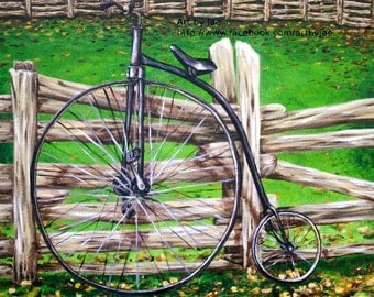 Retro Bicycle Print Penny Farthing Giclee Wall Art 10x10, Home Decor Reproduction from Original Painting, Realistic Art