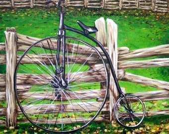 Vintage Bicycle Print 7x7 Wall Art Home Decor Original Painting Reproduction, Retro Penny Farthing Bicycle on Autumn Landscape Fence