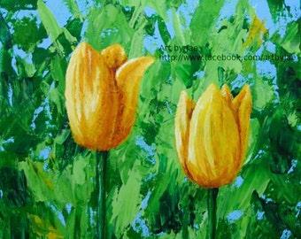 Tulips Art Print Yellow Flowers 8x10 Giclee Print Wall Art Home Decor