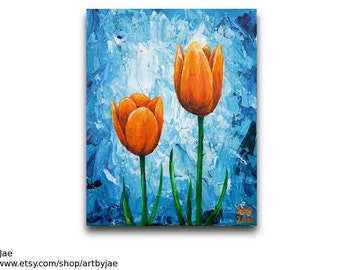 Orange Tulips Painting Flower Wall Art Home Decor 8x10 Modern Painting