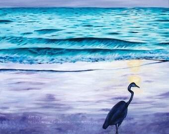 Print Blue Heron on Beach Art Small Wall Art 8x10