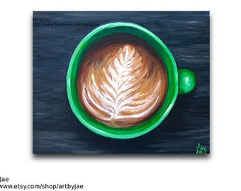 Painting Coffee Cup Original Acrylic Painting Small Wall Art 8x10