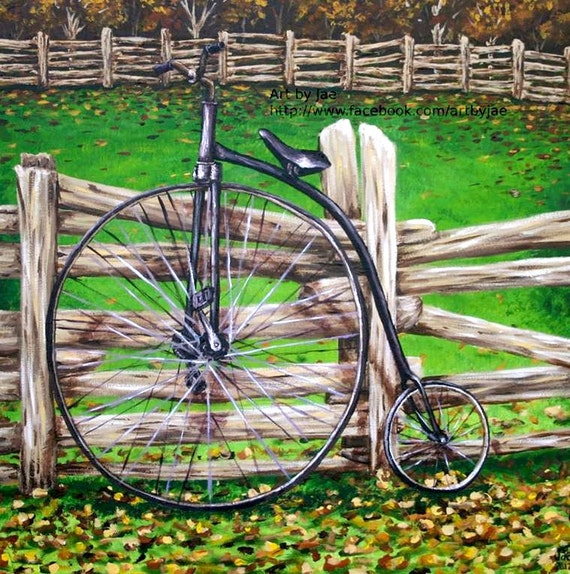 Vintage bicycle print 7x7 wall art home decor original for Bicycle painting near me