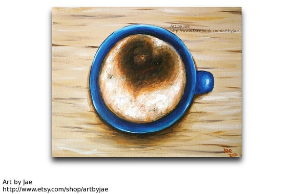 Coffee Cup Painting 8x10 Small Wall Art Realistic Acrylic Painting Kitchen Decor