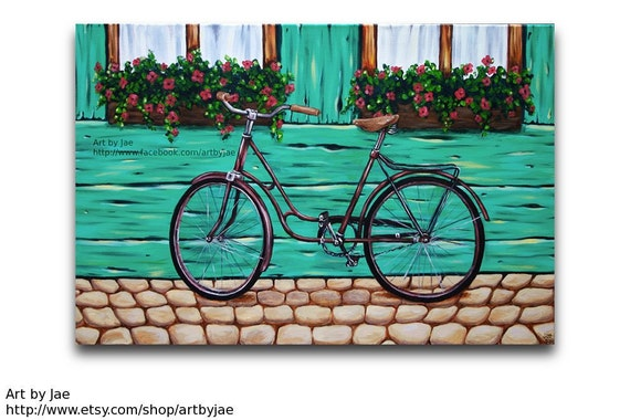 Bicycle Painting Realistic Large Acrylic Painting 24x36 Large Wall Art Home Decor