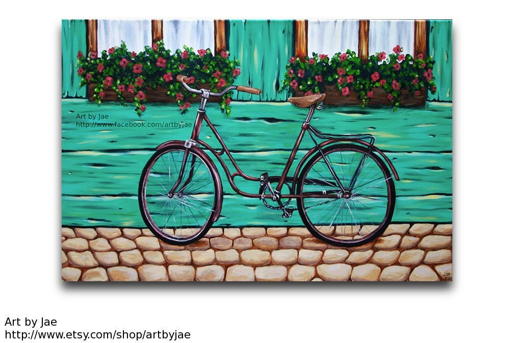 Bicycle painting realistic large acrylic painting 24x36 large for Bicycle painting near me