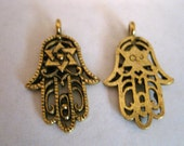 2  Filigree HAND Of GOD ANTIQUE Gold Charms