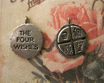 2 PEWTER  CHINESE LETTER CharmS