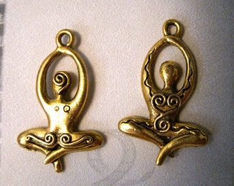 2 ANTIQUE GOLD Meditating Goddess Yoga Charms/PENDANT