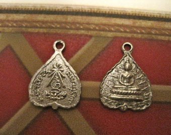 2 TIBETAN Buddha PEWTER CHARM