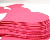 Pink Hearts 1 3/4 inch wide heart bright pink love theme princess party 80's themed party pink party cupcake toppers heart confetti