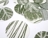 Leaf circle die cuts nature wedding very unique vintage table confetti realistic leaves green and white and brown 1 inch circles set of 50