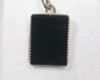 Rectangle Black Onyx Sterling Silver Pendant