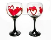 SALE Hand Painted Glass Set Of 2 / Valentine's Day Wine Glasses