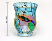 Tropical Fish Hand Painted Glass Vase / Candle Holder / Candy Storage / Wedding Gift Present