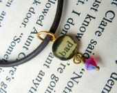 Sweet little bad girl charm necklace resin brass Swarovski crystal and leather