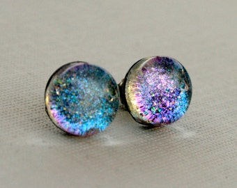 Aurora Borealis - Blue, Teal and Violet -Color Shifting - Stainless Steel Stud Earrings
