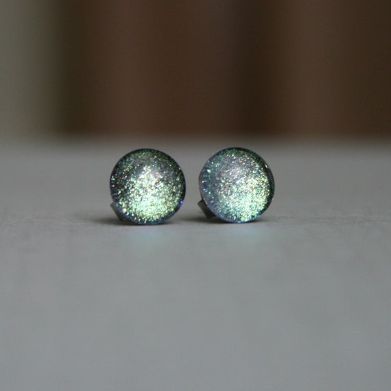 Serenity - Blue, Green and Silver - Color Shifting - Stainless Steel Stud Earrings