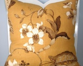 SALE ITEM P. Kaufmann Mustard Yellow with Brown and Cream Floral Decorative Pillow Cover 18x18