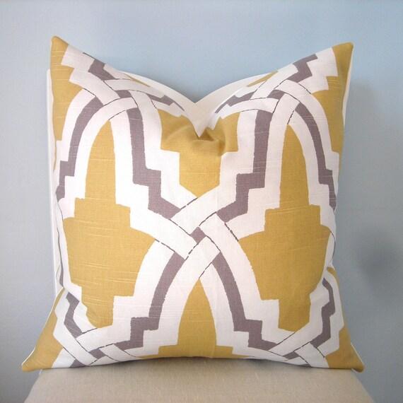 Yellow, Gray, White Decorative Geometric Pillow Cover 18 x 18