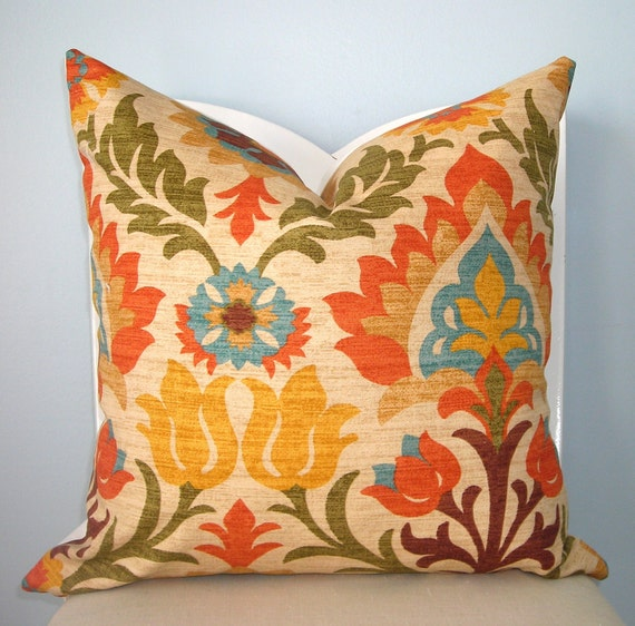 Adobe Floral Orange, Yellow, Green, Turquoise Decorative Pillow Cover 18 x 18