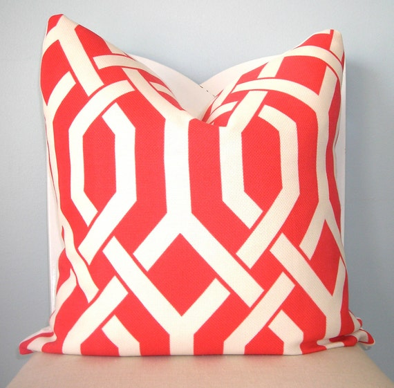 Coral and White Geometric Trellis Decorative Pillow Cover 20 x 20