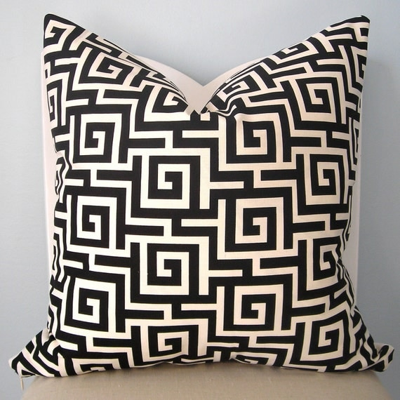 Black and White Greek Key Decorative Pillow Cover by pillowplush