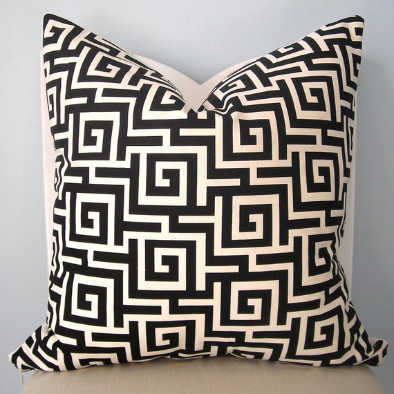 Key Decorative Pillow : Black and White Greek Key Decorative Pillow Cover by pillowplush