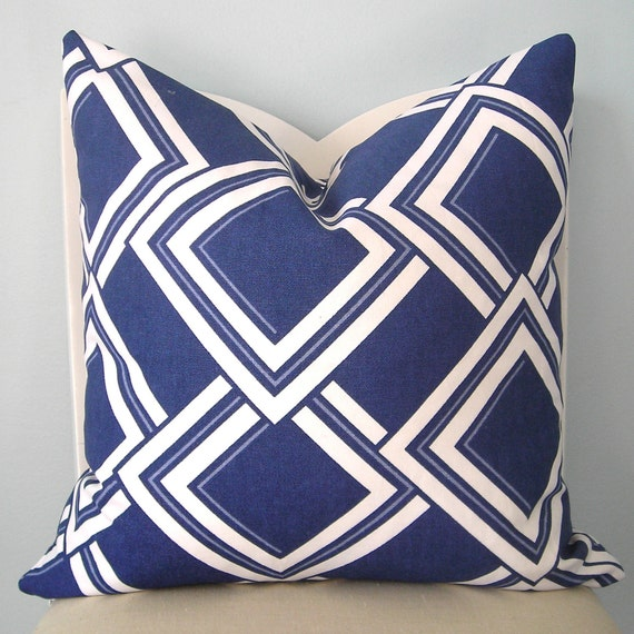 Duralee Esquire Blue Jay Geometric Pillow Cover 18 x 18 (RESERVED FOR JOELLE)